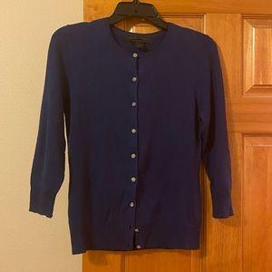 Express silk/cashmere 3/4 sleeve cardigan.